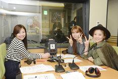 ラジオに出演するLLS。左から、きほ、あすみん、さっちゃん(重盛さと美)。