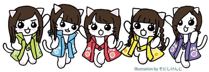 アニメ「ねこねこ日本史」のオープニングに登場するチームしゃちねこ。