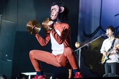 猿になったヤマサキセイヤ(Vo, G)。(撮影:丹部美咲)