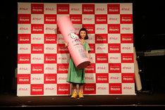 「ポケムヒ」PR発表会での三戸なつめ。(Photo by Yosuke Torii)