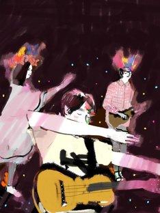 小沢健二「魔法的 Gターr ベasス Dラms キーeyズ」5月25日公演の様子。(イラスト:sucreusagi)