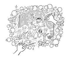 小沢健二「魔法的 Gターr ベasス Dラms キーeyズ」5月25日公演の様子。(イラスト:鈴木裕之)