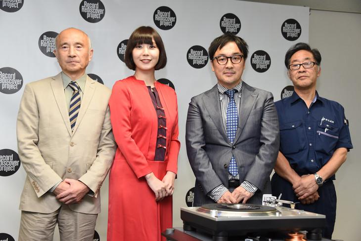 「レコード再発見プロジェクト」イベントの様子。左から寺村博氏(ナガオカ)、土岐麻子、志波正之氏(テクニクス)、石丸仁氏(東洋化成)。
