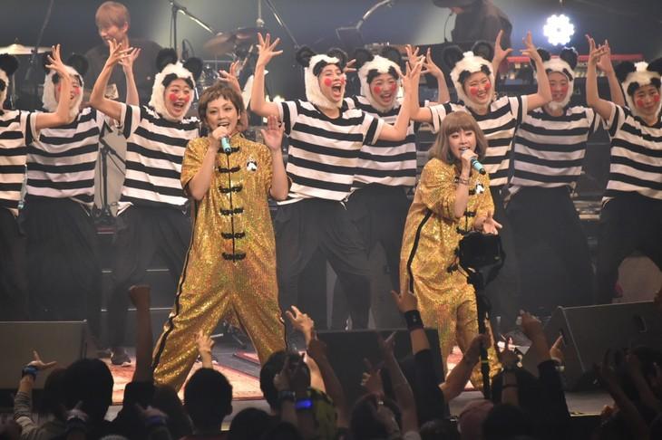 流石組を迎えて「アジアの純真」を歌うPUFFY。(写真提供:Warner Music Japan)