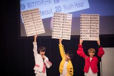 楽曲リストを8号車に見せる(左から)タカシ、ユースケ、ユーキ。(撮影:米山三郎)