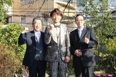 左から徳光和夫、氷川きよし、加藤和也ひばりプロ社長。