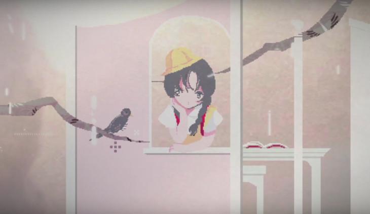 戸川純 with Vampillia「わたしが鳴こうホトトギス」のミュージックビデオのワンシーン。