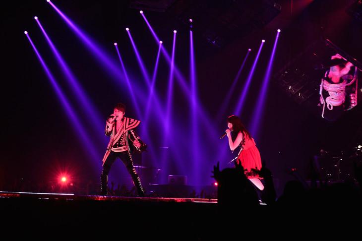 「T.M.R. LIVE REVOLUTION'17 -20th Anniversary FINAL-」でデュエットする西川貴教と水樹奈々。