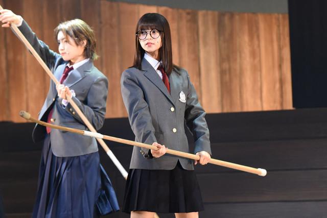 「あさひなぐ」ゲネプロより。写真中央・齋藤飛鳥演じる東島旭。