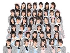 AKB48チーム8。最上段の真ん中が佐藤七海。上から3段目の左から2番目が横道侑里。