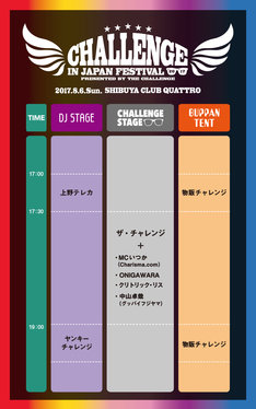 「CHALLENGE IN JAPAN FESTIVAL 2017」タイムテーブル
