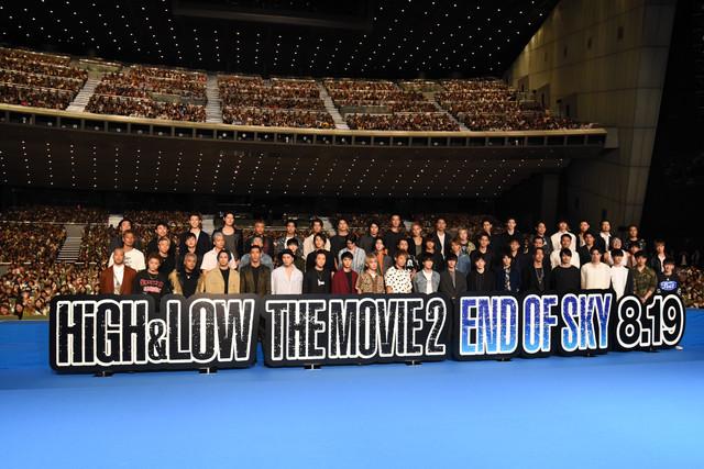 映画「HiGH&LOW THE MOVIE 2 / END OF SKY」の完成披露イベントの様子。