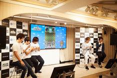 「戦国アクションパズルゲームDJノブナガ」制作発表イベントの様子。