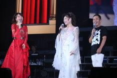左からMay J.、八代亜紀、岡村隆史。(写真提供:ニッポン放送)