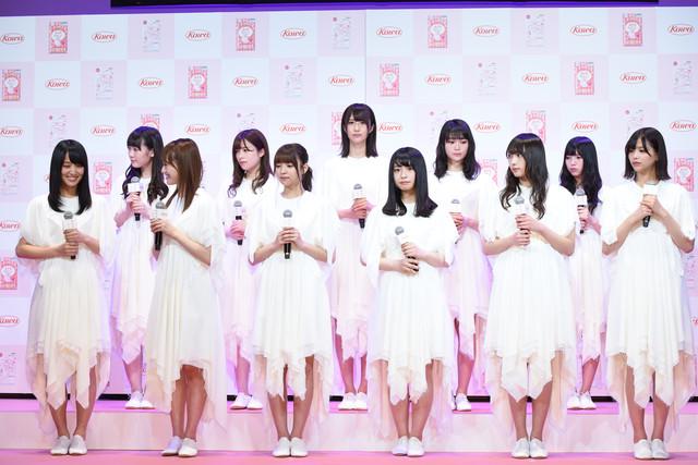 「『三次元マスク×欅坂46』新CM記者発表会」の様子。
