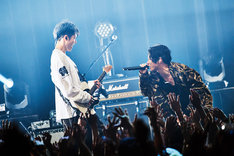 向かい合ってパフォーマンスするMIYAVI(左)とSKY-HI(右)。(Photo by Yusuke Okada)