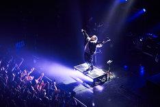 ステージに登場し手を広げるMIYAVI。(Photo by Yusuke Okada)