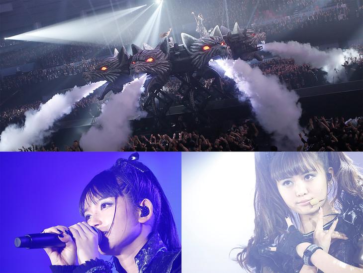 BABYMETAL。下段の左からSU-METAL(Vo, Dance)、MOAMETAL(Scream, Dance)。(Photo by Tsukasa Miyoshi [Showcase])