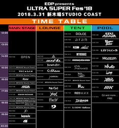 「EDP presents ULTRA SUPER Fes'18」タイムテーブル