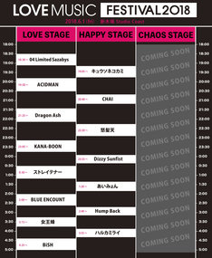「LOVE MUSIC FESTIVAL 2018」タイムテーブル