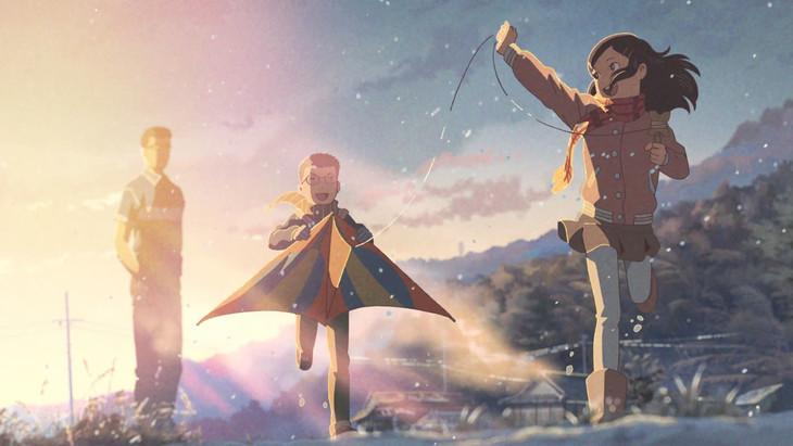 スキマスイッチ×新海誠「ミスターカイト」コラボミュージックビデオのワンシーン。