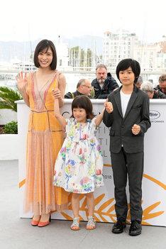 「第71回カンヌ国際映画祭」での「万引き家族」フォトコールの様子。