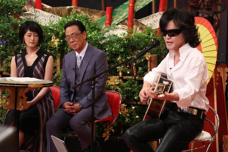左から阿部哲子、梅沢富美男、Toshl。(c)フジテレビ