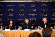 東京・日本外国特派員協会(FCCJ)で行われたYOSHIKI記者会見の様子。