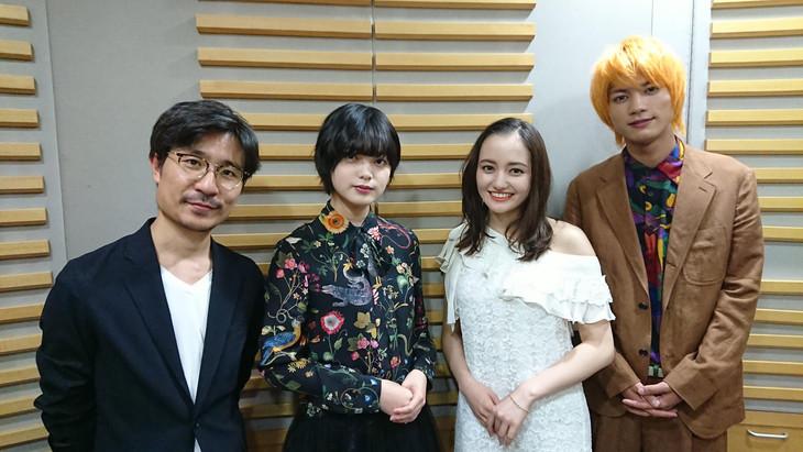 左から月川翔監督、平手友梨奈(欅坂46)、アヤカ・ウィルソン、板垣瑞生(M!LK)。