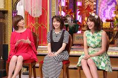左から松本伊代、後藤真希、王林(りんご娘)。(c)日本テレビ