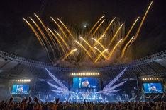 人気画像1位は「B'zデビュー31年目に突入、珠玉セトリで味スタ沸かせた『Pleasure』ツアー最終日」より、「B'z LIVE-GYM Pleasure 2018 -HINOTORI-」味の素スタジアム公演の様子。(写真提供:VERMILLION RECORDS)