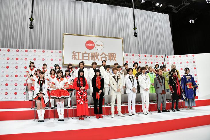 「第69回NHK紅白歌合戦」出場者発表会見の様子。