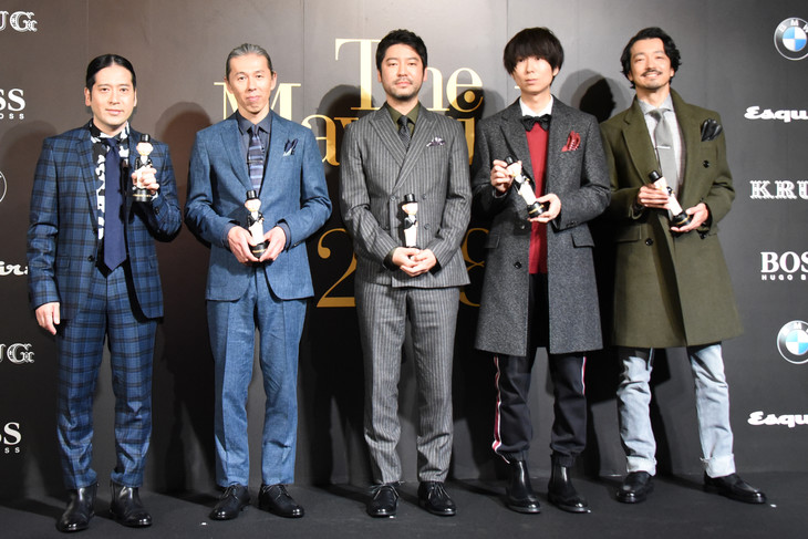 「The Mavericks of 2018」受賞式の様子。左から又吉直樹(ピース)、木村泉美、杉江理、川谷絵音(ゲスの極み乙女。、indigo la End、ichikoro、ジェニーハイ)、金子ノブアキ(RIZE)。