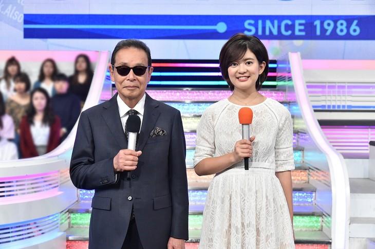 左からタモリ、並木万里菜アナウンサー。(c)テレビ朝日