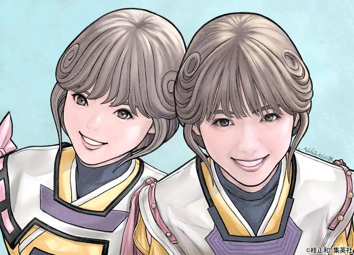 桂正和による西野七瀬と「電影少女」天野アイのイラスト。
