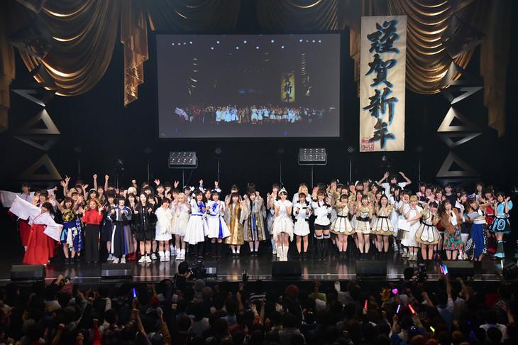 「TOKYO IDOL PROJECT×@JAM ニューイヤープレミアムパーティー2019」グランドフィナーレの様子。