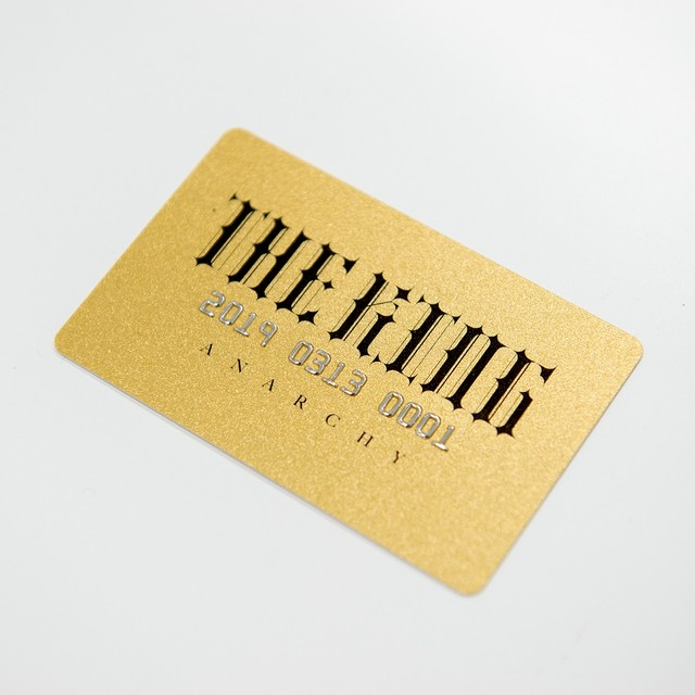 Gold card with serial number