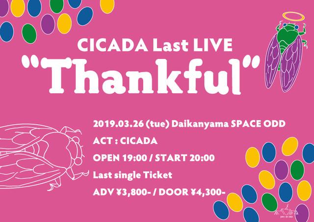"「CICADA Last LIVE ""Thankful""」フライヤー"