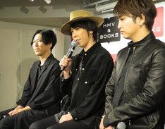 左からShinji(G)、マオ(Vo)、明希(B)。