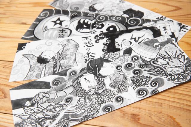 三橋さんが毎月描いている、突き出しに飾るイラスト。