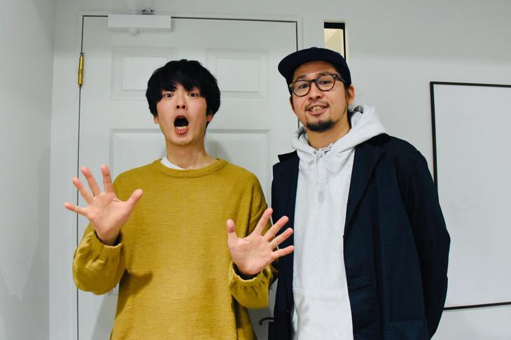 """左から角張渉(カクバリズム)、サイトウ""""JxJx""""ジュン(YOUR SONG IS GOOD)。"""