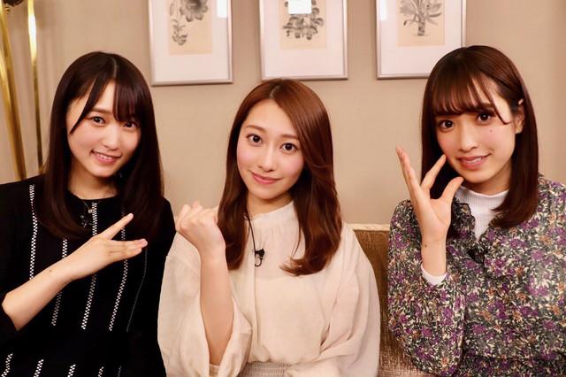 左から菅井友香(欅坂46)、桜井玲香(乃木坂46)、佐々木久美(日向坂46)。 (c)NHK