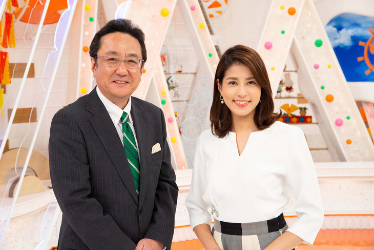 「めざましテレビ」メインキャスターの三宅正治と永島優美。