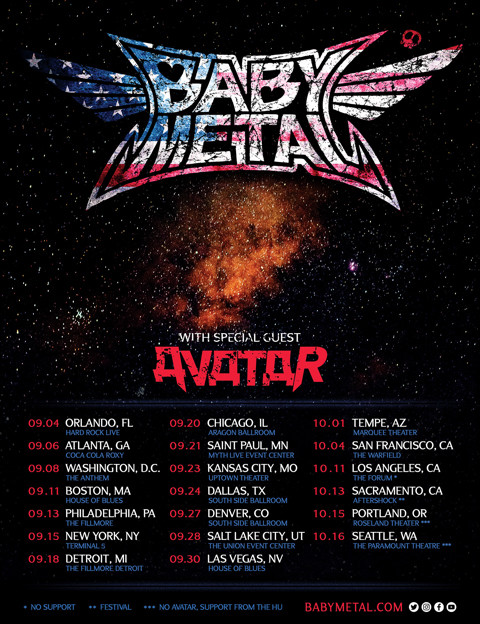 「BABYMETAL US TOUR 2019」告知ビジュアル