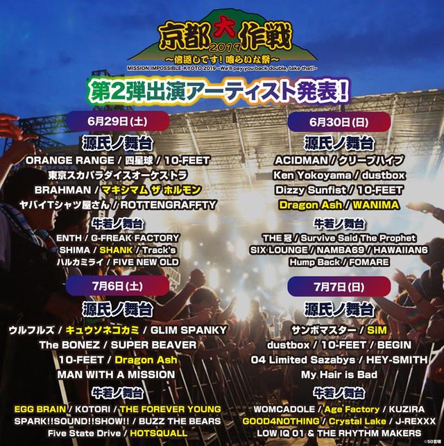 「京都大作戦2019 ~倍返しです!喰らいな祭~」第2弾出演アーティスト発表の告知ビジュアル。