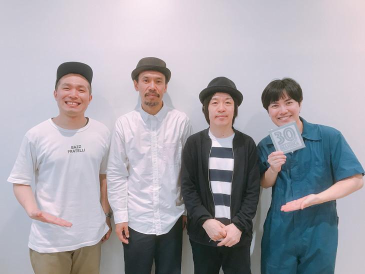 フラワーカンパニーズの鈴木圭介(Vo)とグレートマエカワ(B)、ラブレターズ。