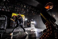 キノシタタクヤ(Dr)の前で演奏するアマダシンスケ(B, Vo)。(Photo by masalivephoto)
