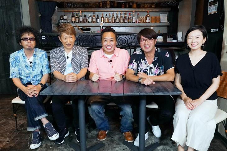 左から奥田民生、川西幸一、三村マサカズ、大竹一樹、狩野恵里アナウンサー。(c)テレビ東京