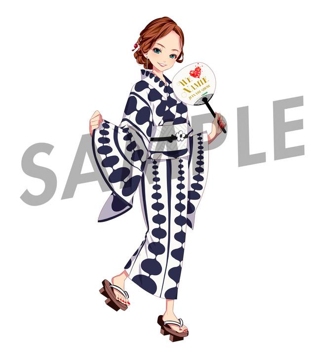 うちわにプリントされる安室奈美恵のキャラクター・eminaのデザイン。