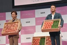 「ふくしまプライド。」の新CM発表会に登壇する城島茂と松岡昌宏。